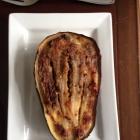 Roasted eggplant with lemon garlic sauce