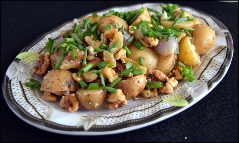 Warm baby potato salad